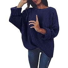 LuckyGirls Suéter de Mujer Punto Casual Manga Larga Moda Blusa Camisetas (XL ...