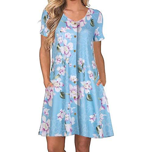 MAYOGO Damen Lässig Luftige Leichte Sommerkleider Freizeitkleider Damen Kurz Minikleid Tuniken Blusenkleid Buttons Down Blumenkleid V-Ausschnitt Kurzarm mit Tasche Kaftan Kleid Jersey Kleid
