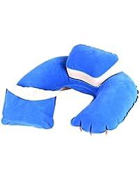 Plegable portable del amortiguador de aire del cuello U cuello Almohada de viaje Office-Azul