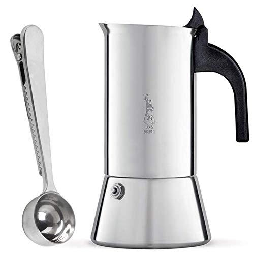 Bialetti Venus 4 Tassen Espressokocher aus Edelstahl Induktion geeignet | Espressokanne für alle Herdarten und Kaffeedosierlöffel mit Klammer von SmartProduct -
