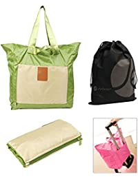 Green Folding Over The Shoulder Travel Tote Bag With Slip On Pocket For Rolling Luggage And Bonus Reusable Storage...