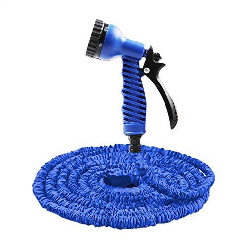 PENVEAT 7 en 1 Pistolet 25-61 m Extensible Tuyau d'arrosage en Latex Tube Magic Tuyau Flexible pour Jardin de Voiture Plastique tuyaux Bleu Tuyau d'arrosage, 38,1 m, Bleu
