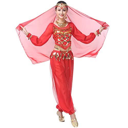 Modern Lyrischen Dance Kostüm - Magogo Bauchtanz Kostüm Karneval Party Kostüm, Professionelle Leistung Outfit Glänzende Dancewear (Rot(4-stück Kit))