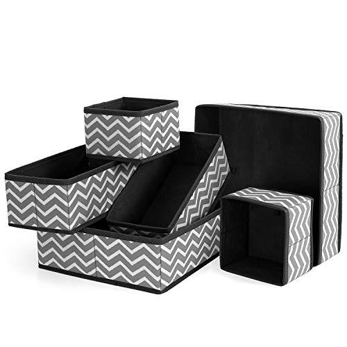 BrilliantJo 6 Stück Aufbewahrungsboxen Unterwäsche Socken Organizer Ordnungssystem Stoffbox für Kleiderschränke und Schubladen Grau/weißer faltbar -