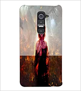 PrintDhaba Scary Girl D-2960 Back Case Cover for LG G2 (Multi-Coloured)