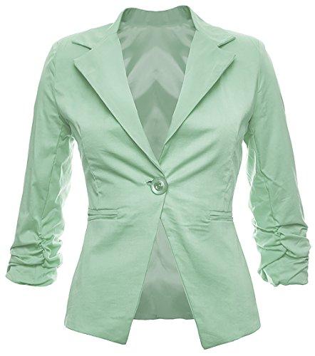 Eleganter Damenblazer Blazer Baumwolle Jäckchen Business Freizeit Party Jacke in 26 Farben 34 36 38 40 42, Farbe:Mint;Größe:XL-42 (Mint Blazer)