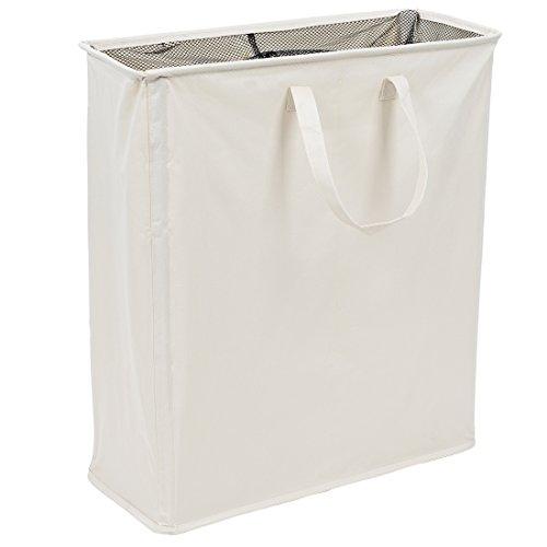 Ihomagic - cesto della biancheria pieghevole a doppia sezione, portabiancheria dalla linea sottile con manici, cesto per la lavanderia per riporre i vestiti (beige).