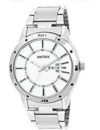 Matrix Silvermine Analog White Dial Stainless Steel Wrist Watch For Men And Boys- DD1-WH-ST