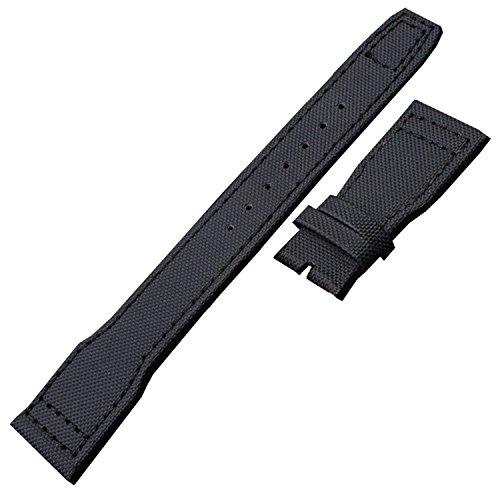 TIME4BEST Herren 22mm schwarz Canvas Leder Tragegurt Band kompatibel mit Big Top Gun Pilot - Leder Band Canvas Uhr