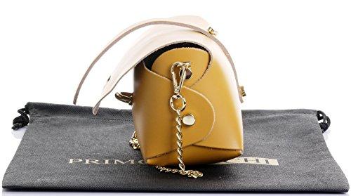 Borsa da sera Mini piccolo Micro spalla a tracolla pelle italiana con tracolla a catena in metallo.Include sacchetto protettivo marca Giallo senape
