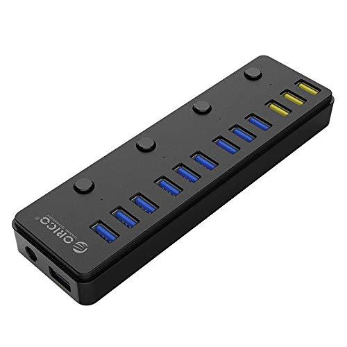 Orico 12-Port USB 3.0-Hub mit Ladefunktion für Smartphones und Tablets für Windows, Mac und Linux PCs
