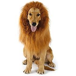 Peluca de León Para Perro Gato Cachorro Mascotas Ropa Sombrero Dress Disfraces Costume Para Navidad Fiesta Cosplay Traje León Crin Peluca de Perro Pet León Melena Pelo (Sin Oreja)