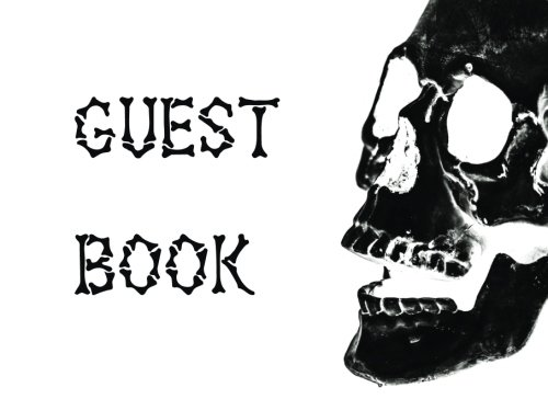 Halloween Sign in Book: Scary Skull Adult Halloween Themed Guest Book, Black & White Design, 110 pages (Halloween Skull Guestbook, Band 1)