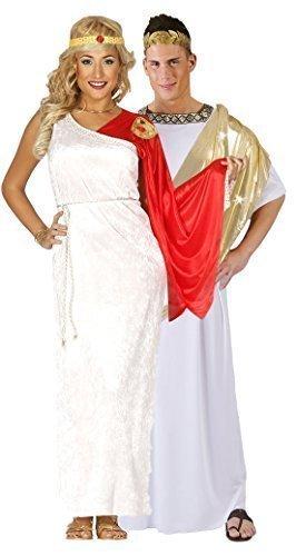 Paar Damen & Herren Antike Römische Toga Cäsar Göttin Velvet Voller Länge Historisch Kostüm groß - Weiß, Ladies UK 14-18 & Mens ()
