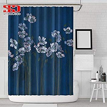 Farmerly Bath Shower Floral Curtain Home Decor Bathroom Polyester Painting Custom Country Style Waterproof Decorative Screen Single Panel Curtain2 180X180cm -