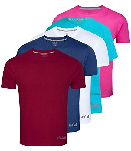 AWG - All Weather Gear Men's Polyester T-Shirts Multicolour_Large (Pack of 5)