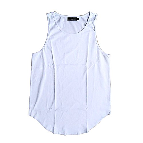 ONCEGALA Männer Hip Hop Athletic Curved Hem Long Basic Ärmellos Weste Tank Tops Weiß