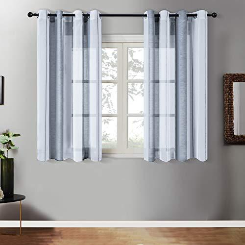 Topfinel Transparente Ösenvorhänge Voile Gardinen mit Streifen Dekoschal für Wohnzimmer und Schlafzimmer Fenster 2er Set je 175x140cm (HxB) Grau