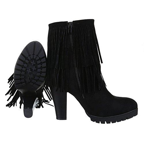 Damen Schuhe, S2111, STIEFELETTEN FRANSEN HIGH HEELS BOOTS Schwarz