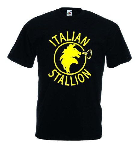 world-of-shirt Italian Stallion Herren T-Shirt Trikot|schwarz XXXL