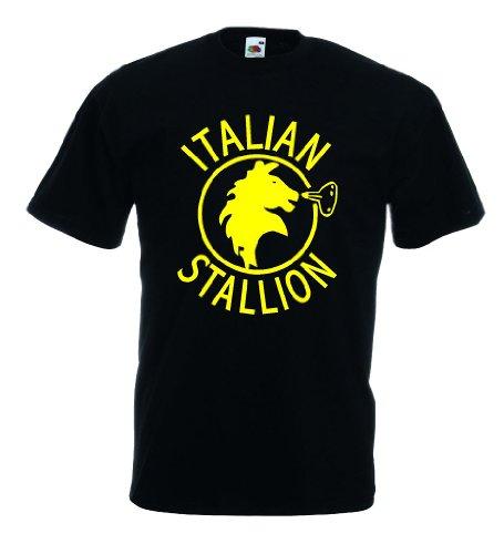 world-of-shirt Italian Stallion Herren T-Shirt Trikot|schwarz XL