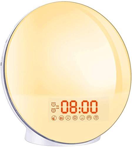 Lampes de Réveil,Cadrim FM Radio Réveil Horloge Dual Alarme,7 Couleurs,8 Type Sonneries,Fonction...