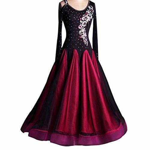 YC así las mujeres estándar competencia de baile vestidos abierto hombro Rhinestone...