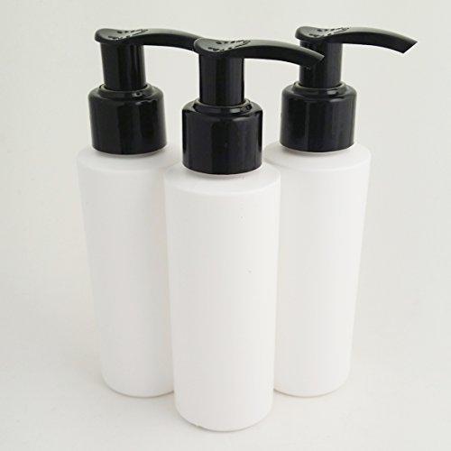 Drei Stück x 100ml weiß HDPE leer Kunststoff Kosmetik Flasche mit Schwarz Lotion Pumpe Spender-recyclebar-von Avalon Kosmetik Verpackung