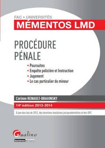 Mémentos LMD - Procédure pénale par Corinne Renault-Brahinsky