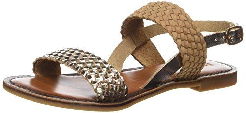 Inuovo 7236 Scarpe col Tacco con Cinturino a T Donna, (Gold-Coconut), 40 EU