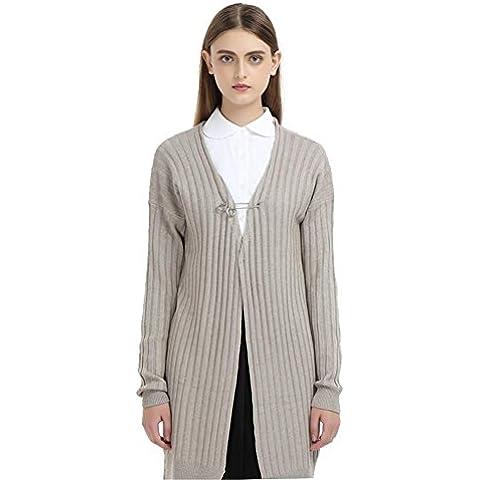 Da donna misto lana uncinetto anteriore aperto Cardigan Maglione, Camel,