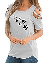 CICIYONER Camiseta Mujer Hombro Descubierto Blusas para Mujer Verano Tallas Grandes