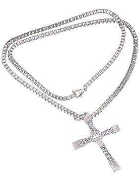 RotSale® Glanz Herren Schmuck Halskette Kreuz Kette Fast And Furious Vin Diesel Dominic Toretto Anhänger Mit Strassstein