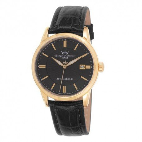 Yonger Bresson & automatico Orologio da uomo, colore: nero, in pelle, colore: nero, YBH 8373/43