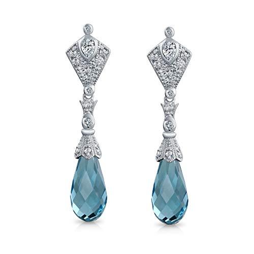 Vintage Art-Deco-Stil Aqua Blau Briolette Facettierte Träne Zirkonia CZ Kronleuchter Ohrringe Für Damen Silber