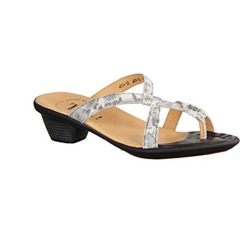 Think Nanet 86522-09 - Damenschuhe Pantolette / Zehentrenner, Beige, leder (effekt), absatzhöhe: 30 mm