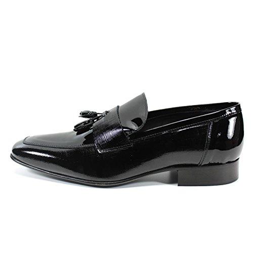 Tassel loafers haute qualité chaussures pour hommes fabriqués à la main en Italie mode vernis noir Pierre Cardin Noir