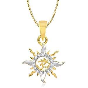 Meenaz Om Pendants Gold Plated In American Diamond Cz Pendant Necklace For Men & Women Gp188