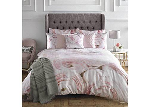 Karl Lagerfeld Rana Rose 220 Cotton Thread Count King Duvet Cover Pink Best Price and Cheapest