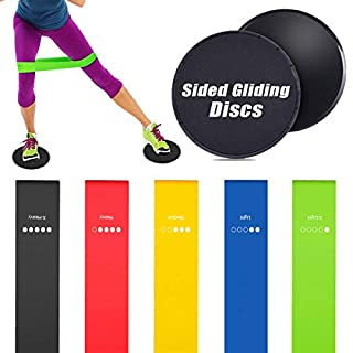 Rantizon Resistance Bands and Sliders Gliding Discs Core Sliders and Exercise Resistance Loop Bands, Set of 5 Natural Latex Workout Bands, Abdominal Exercise Equipment, Gym/Fitness/Stretch/Yoga/Pila