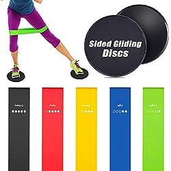 Bandas de Resistencia y Sliders Fitness - Rantizon 5 Bandas Elasticas y Dual Sided Sliders, Ligeras y Portátiles, Unisexo, para Fitness/Crossfit/Pilates/Fuerza Fisioterapia Movilidad Recuperación