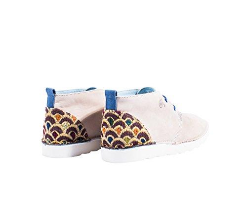 Mondrian - Dèsert chaussures ou dèsert booty avec décoration spéciale sur le talon de l'art japonais - Hommes Sable