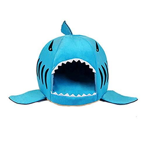 YZYSM Cartoon Shark Hundebett Haus Warme Katze Bett Winter Hund Nest Bett Faltbare Welpen Kissen Haustierbett Für Kleine Hunde Yorkie Teddy M Blau -