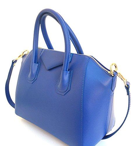 SUPERFLYBAGS Borsa in vera pelle liscia modello Rebecca Mini + tracolla Made in Italy blu