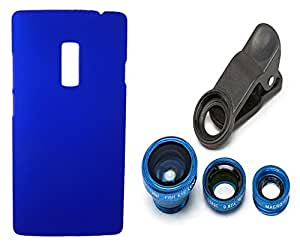XUWAP Hard Case Cover With Universal Clip Lens For Oneplus Two - Blue