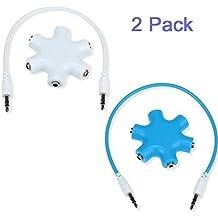Aussel confezione da 2 jack 3,5 mm per cuffie-Sdoppiatore per cuffie, adattatore 1 maschio a 2, 3, 4, 5-Cavo Audio femmina