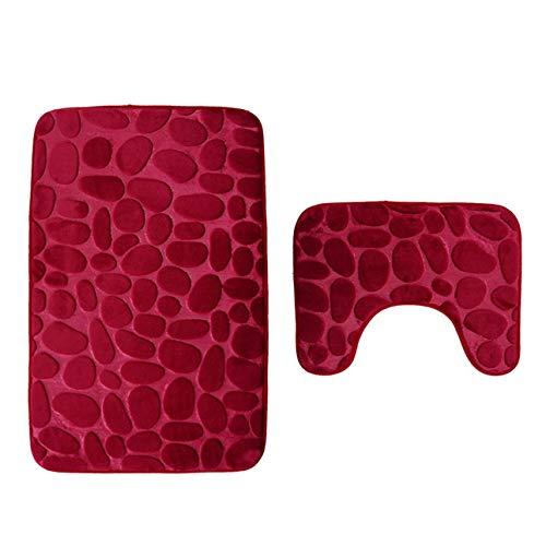 Ballylelly-3D Kopfsteinpflaster WC-Fußmatte Set Bad Teppich zweiteilig Druck Pad rot (Kopfsteinpflaster Bad-teppiche)