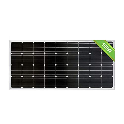 ECO-WORTHY Pannello solare fotovoltaico monocristallino da 100 W 12V Modulo fotovoltaico per ricarica di batteria da 12 Volt in Caravan, Camper, Barca o Yacht