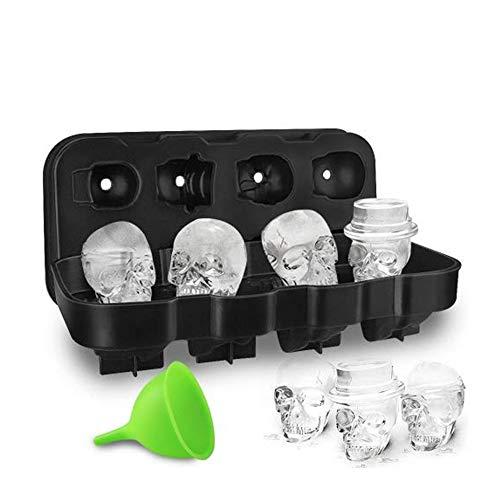 HoneyHolly 3D BPA Frei Schädel Eiswürfelform Mit Deckel, Flexible Lebensmittel Gerade Silikon Eis Würfel Schokolade Süßigkeiten Schimmel Trays, Perfekte für Kinder, Halloween Geschenke (Machen Halloween-lebensmittel Leicht)