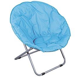 Fauteuil Pliant Bleu LOVEUSE Chaise Tissu Design Salon Camping Plage Pieds Noir